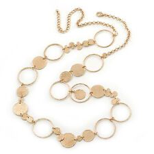Long Hammered Coin & Circle Necklace In Gold Plating - 100cm Length/ 8cm Ext