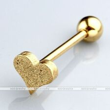 Gold Heart Bars Steel Sandblasted Lip Tongue Labret Rings Body Barbell Piercing