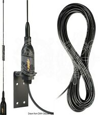 GLOMEX Black Wall-Mounted 530mm VHF Task Antenna with 8m Cable
