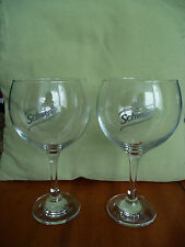 2pc Schweppes glasses large water wine Bistro Cubata stemware unused rare