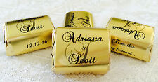 300 GOLD FOIL PERSONALIZED MONOGRAM WEDDING CANDY wrappers/stickers for NUGGETS