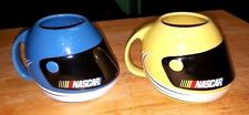 Two (2) 2003 Official NASCAR Racing HELMET Mugs / Cups Yellow & Blue