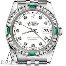 Ladies Rolex 26mm Datejust White Color Dial with Emerald Diamond Accent RT Watch