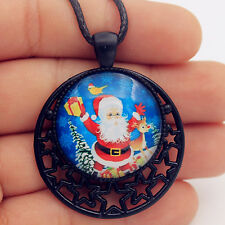 Christmas Tree Santa Claus Elk Bird String Glass Pendant Necklace Gifts *4318