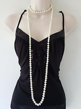 "Beautiful 60"" long glass faux pearl bead knotted rope necklace, 8mm glass beads"