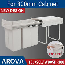 Pull Out Bin Kitchen Double Dual Slide Garbage Rubbish Waste Basket 10L + 20L