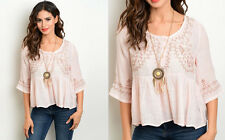 Pink BABYDOLL PEASANT Chic Boho Hippie Embroidered Ruffled Button Blouse Top S