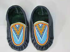 NATIVE AMERICAN BLUE  MOCCASINS  6 1/2 INCHES LONG RADIANT SUNRISE