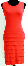 Calvin Klein Red Knit Sweater Dress Tiered Ruffle Sleeveless Stretchy Sz XS