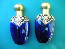 Pair Of Perfume Bottles- ATOMIZERs- Blue Glass, Gold Filagree Tops - Both Empty