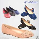 Women's Shoes Round Toe Jewel Embellished Ballet Flat Shoes Black Blue Red NEW