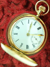 European 14Kt Gold Hunter Case Pocket Watch Full Jewel E Sandoz Locle