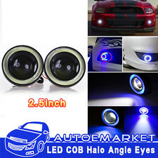 High Power LED Projector Fog Light w/ Blue COB Halo Angel Eye Rings For Nissan