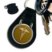 DOCTOR CADUCEUS MEDICAL SYMBOL LEATHER KEYRING / KEYFOB GIFT