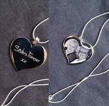 Personalised Photograph & Text Engraved Large Heart Necklace + Chain