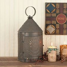 Large Fireside Lantern Lamp in Blackened Tin | Country Colonial Accent Lighting
