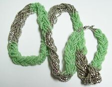 ANN TAYLOR LOFT Mint Green & Silver Twisted Seed Bead Necklace