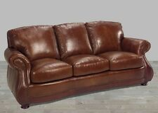 Leather Sofa 100% Top Grain Alligator Embossing Brandy Brown U.S. Built New