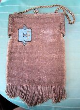 Vintage Glass BEADED PURSE Silver/Turquoise/Gold/Black, Blue Glass Tips on Clasp