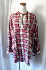 NEW RED BLUE PLAID Pocket FLANNEL Embroidered LUMBERJACK Mandarin TUNIC TOP S