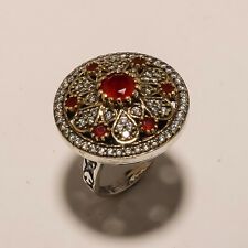 925 STERLING SILVER & SOLID BRASS RED RUBY TWO TONE LOVELY RING D00626