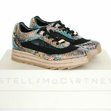 STELLA McCARTNEY snakeskin print sneakers platform espadrille rope shoes 37 NEW