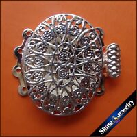 2/5/10 pcs 3 / 4 Strings Filigree Silver Plating Flower Box Clasps 18mm FINDINGS
