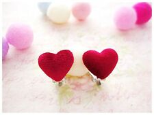Cute Girls Kids Clip On Earrings Red Heart Novelty Children's Costume Women Gift