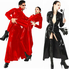 Ladies or Man Sexy Catwoman Black faux leather pvc long gothic coat fancy dress