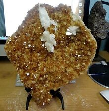 LARGE  CITRINE CRYSTAL CLUSTER GEODE  FROM BRAZIL CATHEDRAL W/ BLACK STEEL STAND