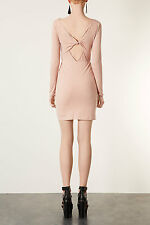 BNWT Topshop Nude Glitter Knot Back Detail Bodycon Dress, Size 10 RRP £38