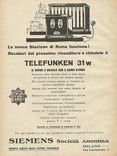 Y1132 Telefunken 31 w - Il nuovo 3 valvole - Pubblicità 1930 - Advertising