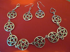 GORGEOUS PENTAGRAM BRACELET AND MATCHING EARRINGS WITCH WICCA PAGAN GOTH