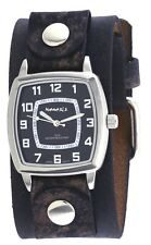 Nemesis NFB017K Men's Vintage Square Collection Charcoal Wide Leather Band Watch