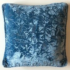 METALLIC SKY BLUE CRUSHED VELVET HOME DECOR LOUNGE BEDROOM CUSHION COVER
