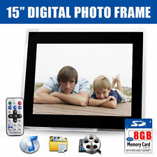 "New 15"" Black HD Digital Photo Frame MP3 Audio Video Photo + Free 8GB SD Card"