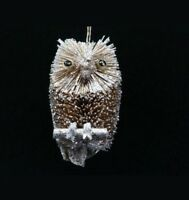 Gisela Graham Christmas Bristle and Silver Owl Tree Decoration Ornament