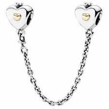 GENUINE AUTHENTIC PANDORA SILVER 14K GOLD HEART & CROWN SAFETY CHAIN 791878
