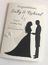 Handmade Personalised Silhouette Bride & Groom Wedding Day Congratulations Card