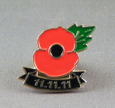 Metal Enamel Pin Badge Brooch Poppy 11.11.11 Rememberance Red Poppy Soldiers
