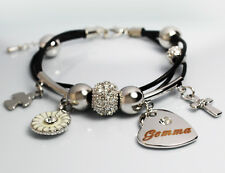 GEMMA Leather Name Bracelet 18ct White Gold Plated Christmas Birthday Gifts