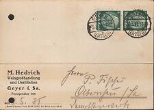 GEYER, Postkarte 1935, M. Hedrich Wein-Großhandlung Destillation