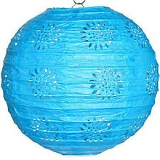 """3 turquoise paper lace pattern lanterns 8"""" diameter wedding party decorations"""
