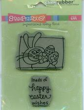 STAMPENDOUS cling rubber stamp set BUNNY WISHES Easter, CRS2045