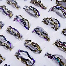 30pcs Stainless steel Fashion Unisex 3 in 1 Wave Rings Wholesale Jewelry Lots