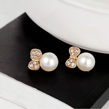 Pair Cute Girl Small Bow Round Pearl Rhinestone Fashion Stud Earrings Gift CA28