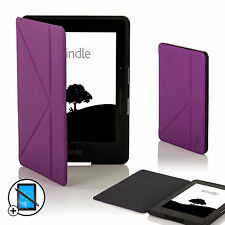 Leather Purple Smart Origami Case for Amazon Kindle Voyage + Screen Prot Stylus