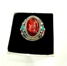 RARE MIAO SILVER OLD INLAY Zircon Cloisonne Enamel Red Flower Noble Ring