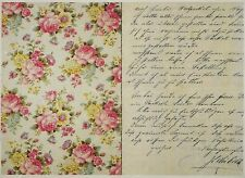 Rice Paper for Decoupage Decopatch Scrapbook Craft Sheet Vintage Letter & Roses