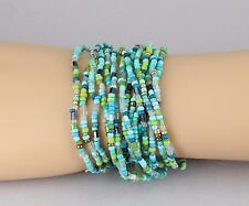 15 Turquoise Teal bracelet seed bead stretch set pack beaded stack stacking